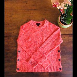 J Crew orange marled lambs wool crew neck sweater